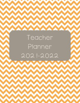 Teacher Planner 2017-18 Orange and Dark Gray Chevron
