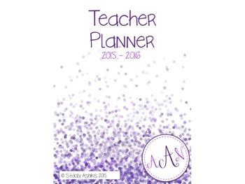 Teacher Planner: 2015-2016 Colorful Confetti