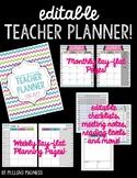 {EDITABLE} Teacher Planner 2018-2019 [Bright Chevron]