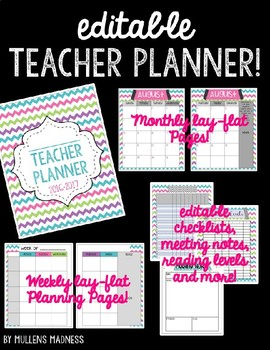 {EDITABLE} Teacher Planner 2018-2019 [Bright Chevron]
