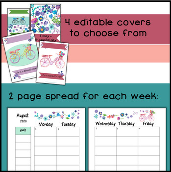 Teacher Planner 2017-2018 {EDITABLE!} Organization, Forms: Bicycles & Berries