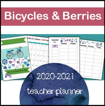 Teacher Planner 2017-2018 {EDITABLE!} Organization, Forms: Bicycles & Berries