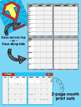 Teacher Planner 2017-2018 - Superhero Theme