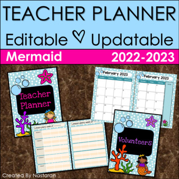 Teacher Planner 2018-2019 Editable -Teacher Binder 2018-2019 Mermaid