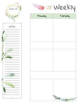 Teacher Planner 2018-19 Floral Design