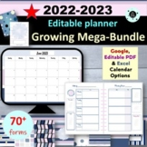 Editable Teacher Planner & Teacher Binder 2019-2020 Disc Planner Bundle
