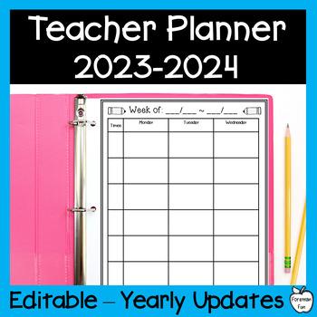 teacher planner 2018 2019 editable black white ink saving design