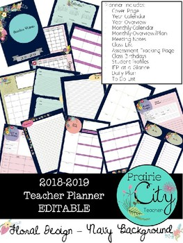 Teacher Planner 2018-2019 - Floral Navy Design - EDITABLE