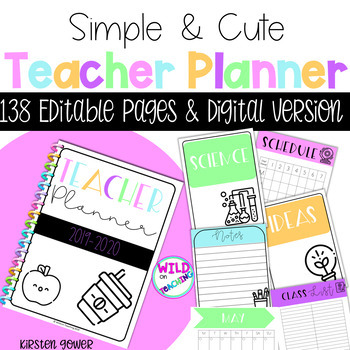 Teacher Planner 2019 - 2020 - Editable & Digital Versions