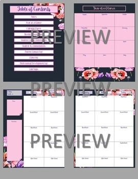 Teacher Planner 2019-2020 for Google Drive -- Floral Pattern