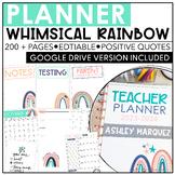 Teacher Planner 2021-2022 | Whimsical Rainbow | Editable | Google Drive