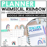 Teacher Planner 2020-2021 | Whimsical Rainbow | Editable |