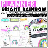Teacher Planner 2021-2022 | Bright Rainbow | Editable | Go