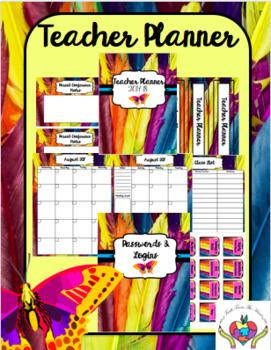 Teacher Planner 2017-2018 Bright Feathers