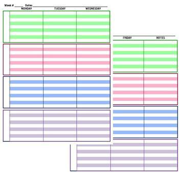 Teacher Planner 4 Subject Customizable