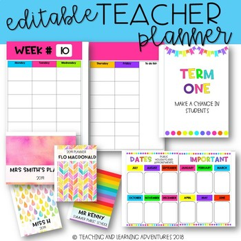 editable teacher planner by teaching and learning adventures tpt