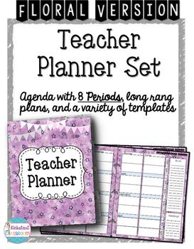 Teacher Planner Agenda and Organizer Binder with 8 Periods ~ Floral Version