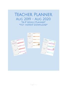 Teacher Planner - Aug 2019 to Aug 2020