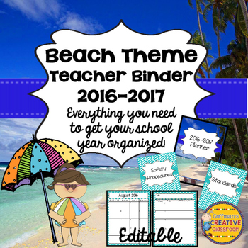 Teacher Planner Beach Theme- Editable