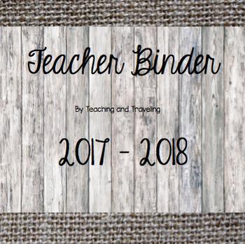 Teacher Planner Binder 2016-17: Burlap and Wood