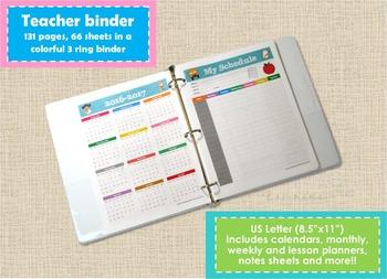 SALE! Teacher Planner Binder School Year 2016-2017. Letter