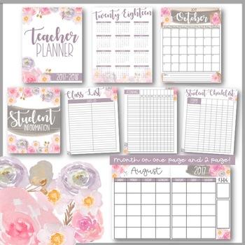 Teacher Planner Binder - Watercolor Flowers *editable*