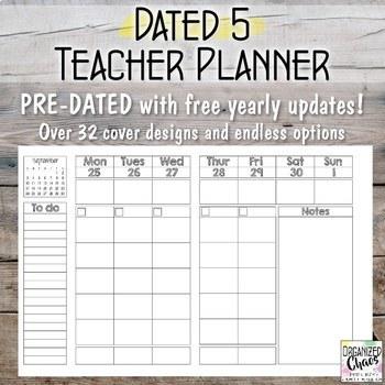Teacher Planner / Organization Binder: Dated 5