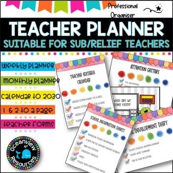 Teacher Planner Binder (Diary) elementary teachers -Relief Teacher
