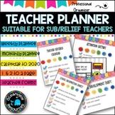 Teacher Planner Binder (Diary) elementary teachers -Relief Teacher 2019 edition