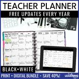 EDITABLE Teacher Planner Binder - Black and White | FREE Updates