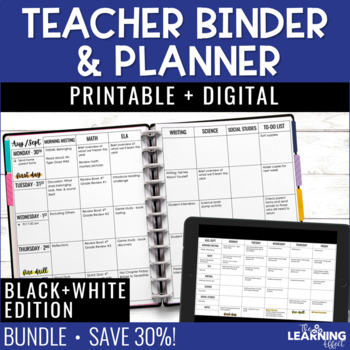 EDITABLE Teacher Binder & Planner - Black and White | FREE Updates