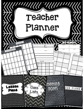 Teacher Planner- Black & White