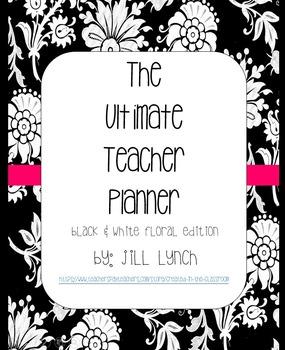 Teacher Planner - Black & White Floral Edition