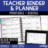 Editable Teacher Planner | Black and White