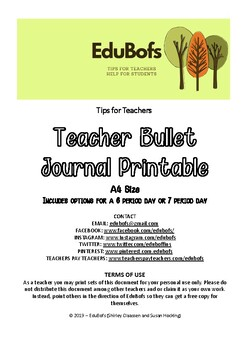 graphic about Bullet Journal Printable referred to as Instructor Planner/Bullet Magazine Printable A4 Dimensions