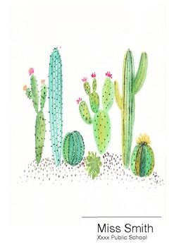 Teacher Planner Cactus Succulent design