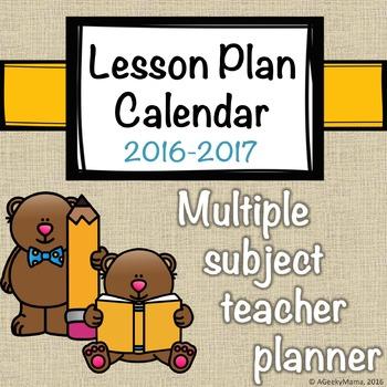 Teacher Planner Calendar Elementary Multiple Subject