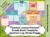 Teacher Planner, Calendar, Grade Book- Butterfly- Editable Cover Page