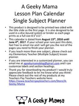 Teacher Planner Calendar Secondary/Upper Elementary Single Subject