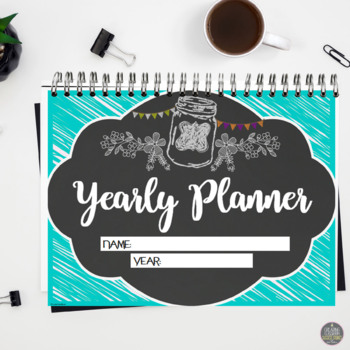Teacher Planner Calendar for Secondary, A/B Block Schedule or 4 Preps, Brights
