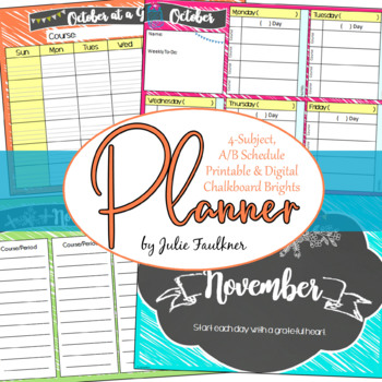 Teacher Binder Planner for Secondary, A/B Block Schedule or 4 Preps, Brights