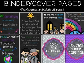 Teacher Planner- Chalkboard Brights- editable pages included!