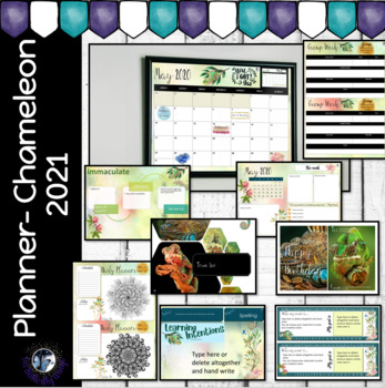 Teacher Planner Chameleon- Editable