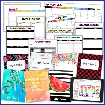 EDITABLE Teacher Planner Binder - Chevron   FREE Updates