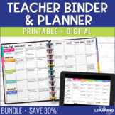 Editable Teacher Planner Binder Printable & Digital BUNDLE