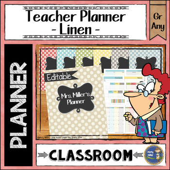 Teacher Planner Binder {Color: Linens}