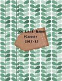 Teacher Planner Cover Green Leaf