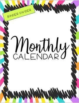 Teacher Planner- Cover Page, Dividers, Lesson Plan Templates, Calendar, etc.