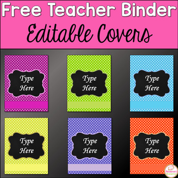 Teacher Planner Covers -Teacher Planner Covers Editable - Bright Polka Dot