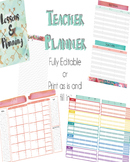 "EDITABLE Teacher Planner - Day/School Planner - ""Color Me Floral"" Design"